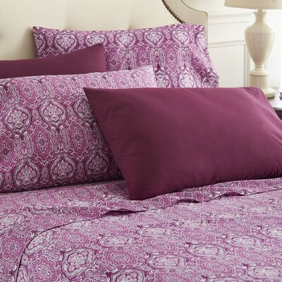 Hotel 5th Ave Home 6 Piece Sheet Set Color: Purple Paisley, Size: Full