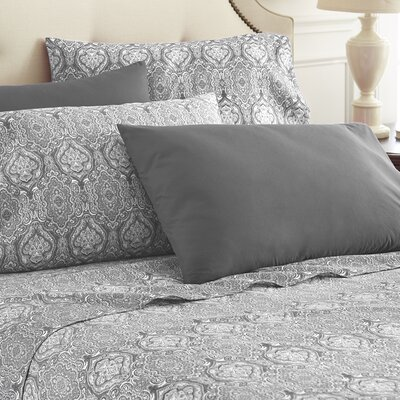 Hotel 5th Ave Home 6 Piece Sheet Set Color: Black Paisley, Size: Queen