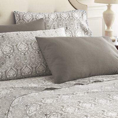 Hotel 5th Ave Home 6 Piece Sheet Set Color: Grey Paisley, Size: Full