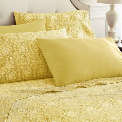 Hotel 5th Ave Home 6 Piece Sheet Set Color: Gold Paisley, Size: Queen