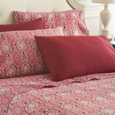 Hotel 5th Ave Home 6 Piece Sheet Set Color: Burgundy Paisley, Size: Full