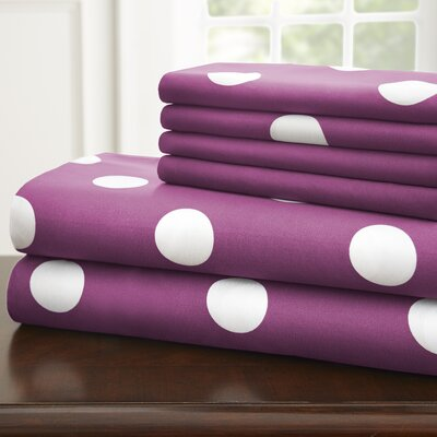 Hotel 5th Ave Home 6 Piece Sheet Set Color: Purple Polka, Size: King