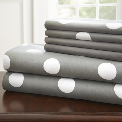 Hotel 5th Ave Home 6 Piece Sheet Set Color: Grey Polka, Size: Full