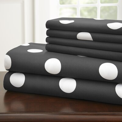 Hotel 5th Ave Home 6 Piece Sheet Set Color: Black Polka, Size: Full