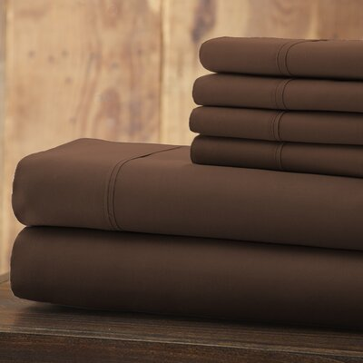 Everyday Essentials 6 Piece 1800 Series Sheet Set Color: Chocolate, Size: King