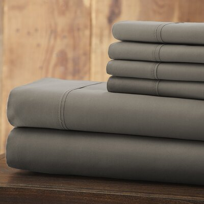 Bailee 6 Piece 1800 Series Sheet Set Size: King, Color: Gray