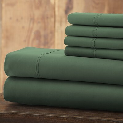 Everyday Essentials 6 Piece 1800 Series Sheet Set Color: Hunter Green, Size: Queen