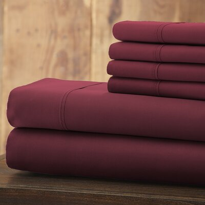 Bailee 6 Piece 1800 Series Sheet Set Size: King, Color: Maroon