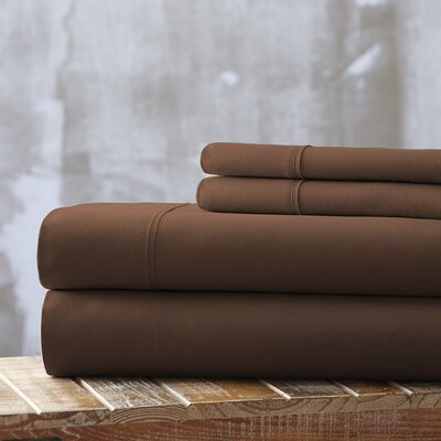 Everyday Essentials 1800 Thread Count 4 Piece Sheet Set Color: Chocolate, Size: Queen