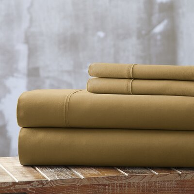 Everyday Essentials 1800 Thread Count 4 Piece Sheet Set Color: Gold, Size: Queen