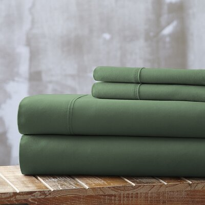 Everyday Essentials 1800 Thread Count 4 Piece Sheet Set Color: Green, Size: Full
