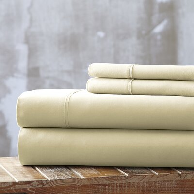 Everyday Essentials 1800 Thread Count 4 Piece Sheet Set Color: Ivory, Size: Full