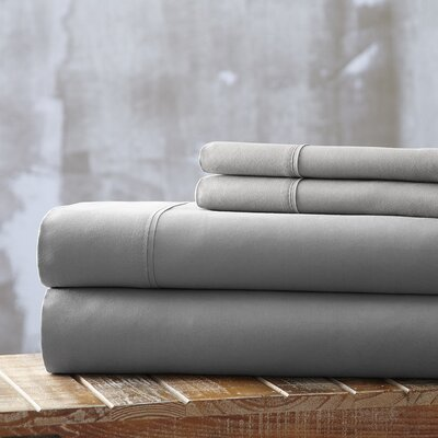 Everyday Essentials 1800 Thread Count 4 Piece Sheet Set Color: Light Gray, Size: Queen