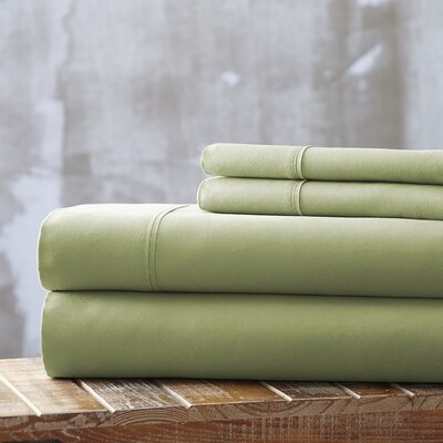 Everyday Essentials 1800 Thread Count 4 Piece Sheet Set Color: Sage, Size: Queen