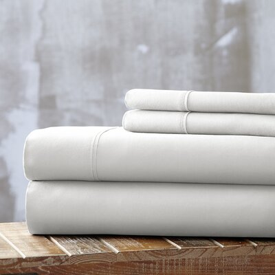Bailee 4 Piece Sheet Set Size: King, Color: White