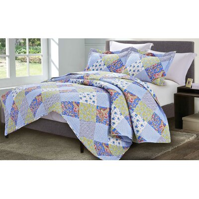 Floral Napoli 3 Piece King Quilt Set