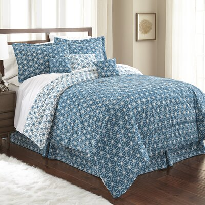 Aguirre 7 Piece Galaxy Comforter Set Size: King, Color: Teal