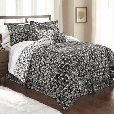 Aguirre 7 Piece Galaxy Comforter Set Size: King, Color: Black