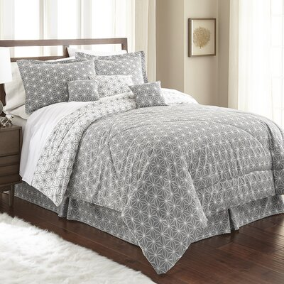 Aguirre 7 Piece Galaxy Comforter Set Size: King, Color: Gray