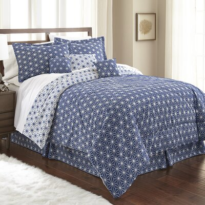 Aguirre 7 Piece Galaxy Comforter Set Size: King, Color: Royal Blue