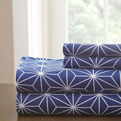 Galaxy Sheet Set Color: Royal Blue/White, Size: Twin