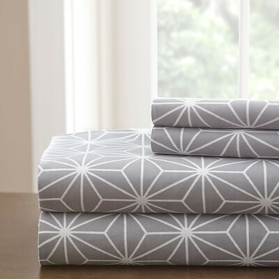 Galaxy Sheet Set Size: King, Color: Grey/White