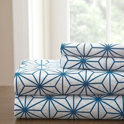 Galaxy Sheet Set Size: King, Color: White/Teal