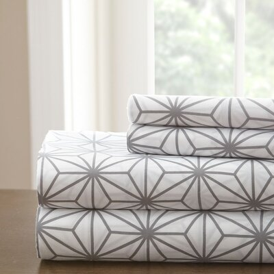 Galaxy Sheet Set Color: White/Grey, Size: Queen
