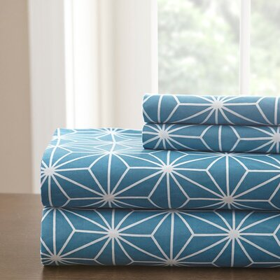 Galaxy Sheet Set Size: Queen, Color: Teal/White