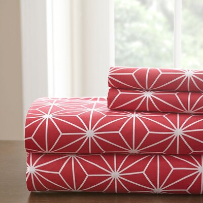 Galaxy Sheet Set Color: Crimson Red/White, Size: King