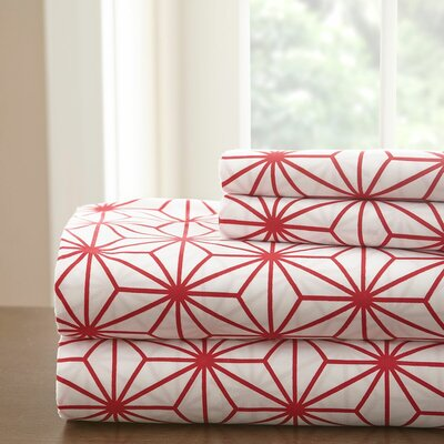 Galaxy Sheet Set Color: White/Red, Size: King