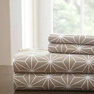 Galaxy Sheet Set Size: King, Color: Taupe/White