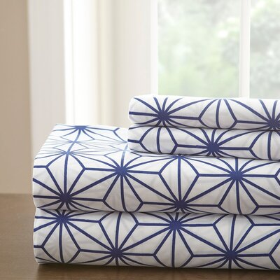 Galaxy Sheet Set Color: White/Royal Blue, Size: Full