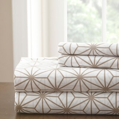 Galaxy Sheet Set Color: White/Taupe, Size: Full