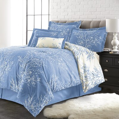 Jenna 6 Piece Reversible Comforter Set Color: Light Blue/White, Size: King