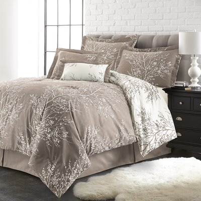 Jenna 6 Piece Reversible Comforter Set Color: Taupe/White, Size: King