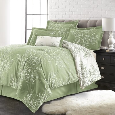 Jenna 6 Piece Reversible Comforter Set Color: Sage/White, Size: Queen