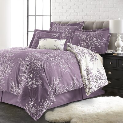 Jenna 6 Piece Reversible Comforter Set Color: Lilac/White, Size: Queen