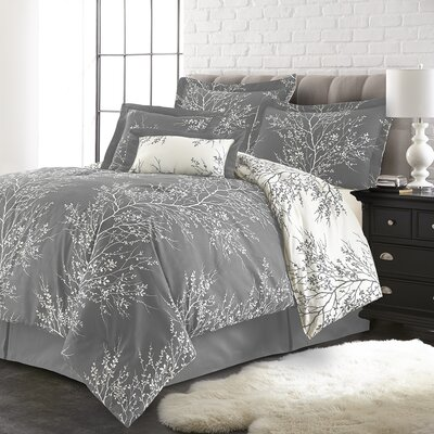 Jenna 6 Piece Reversible Comforter Set Color: Gray/White, Size: King