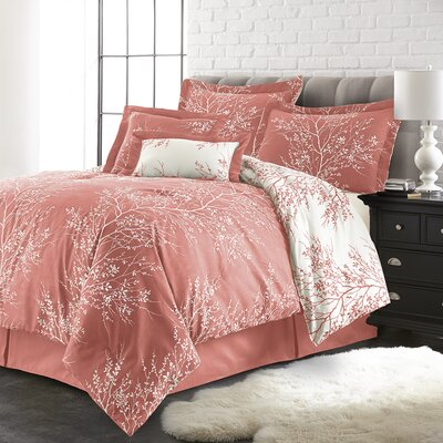 Jenna 6 Piece Reversible Comforter Set Color: Coral/White, Size: King