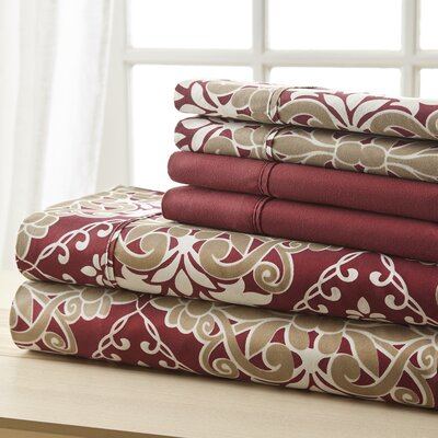 Weyerbacher Burgundy Damask Sheet Set Size: Queen
