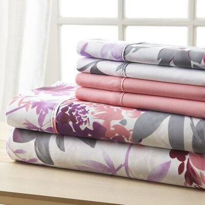 Socorro Gray and Pink Floral Sheet Set Size: Queen
