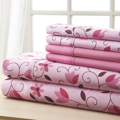 Socorro Pink and Brown Leaves Sheet Set Size: Queen