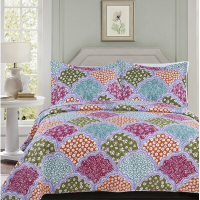 Melloul 3 Piece Embroidered Quilt Set Size: Queen