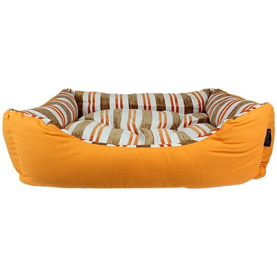 Canvas Striped Dog Bed Color: Orange