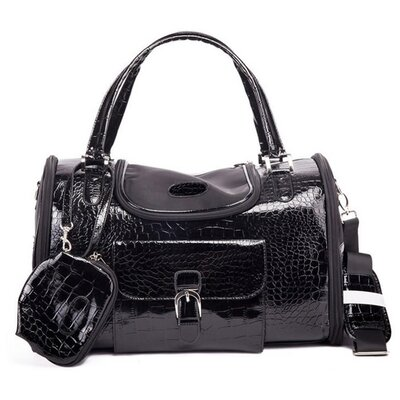 Crocodile Skin Pet Carrier Size: Small (9 H x 9 W x 13 L), Color: Black