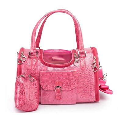 Crocodile Skin Pet Carrier Size: Small (9 H x 9 W x 13 L), Color: Pink