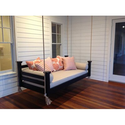 The Elegant Charleston Porch Swing Finish: Black, Size: Twin