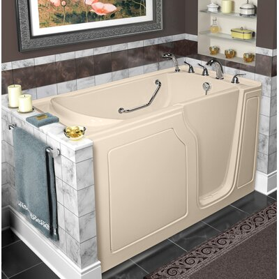 Dignity 48 x 28 Whirlpool and Air Jetted Walk-In Bathtub Finish: Biscuit, Drain Location: Right Side