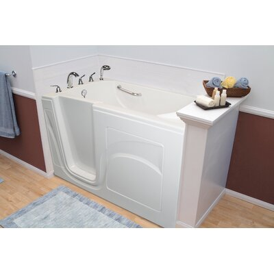 Navigator 54 x 30 Whirlpool and Air Jetted Walk-In Bathtub Drain Location: Left Side, Finish: White